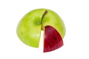 Fractioned apple