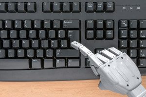 Robot at keyboard
