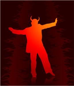 devil dancing in suit